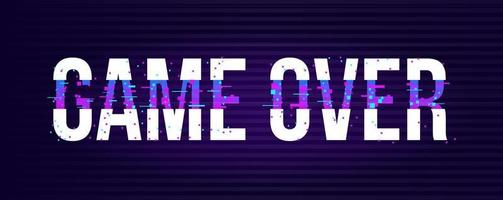 Game over banner for games with glitch effect in pixel style. Neon light on text. Vector illustration design.
