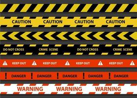 Ilustración de vector de frontera de raya policial de negro, amarillo y rojo. conjunto de precaución de peligro. Advertencia, manténgase alejado, escena del crimen, no cruce.