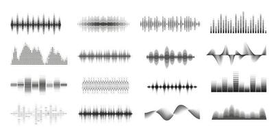 Music sound waves big monochrome set. Console panel. Music audio collection. Electronic radio signal. Equalizer. vector