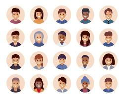 People avatar icon big collection. Set including male and female. Vector illustration design.