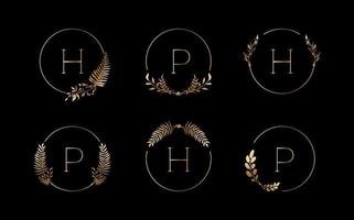 Luxury logos set with golden leaves and round line. Vector illustration design