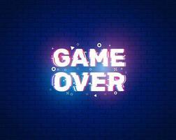 banner de game over para juegos con efecto de falla. luz de neón en el texto. diseño de ilustración vectorial. vector