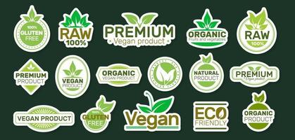 pegatinas de ecología con lemas. parche vegano. bio, orgánico, fresco, saludable. diseño de ilustración vectorial. vector