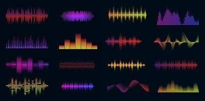 Music sound waves big colorful set. Music audio collection. Console panel. Electronic radio signal. Equalizer. vector