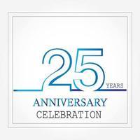 Logotipo de aniversario de años con color azul blanco de una sola línea para celebración vector