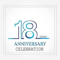 years anniversary logotype with single line white blue color for celebration vector
