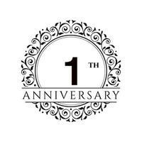 1 Year anniversary celebration vector template illustration
