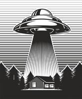 UFO poster vintage. Aliens abduct from a farm. House with windmill mill in forest. Black and white design. Vector illustration.
