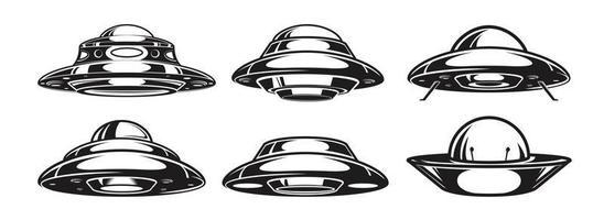 conjunto de naves espaciales alienígenas. colección de naves espaciales ovni. ilustración vectorial vector