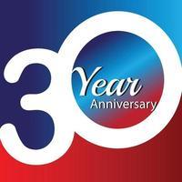 Ilustración de diseño de plantilla de vector de logotipo de aniversario de 30 años