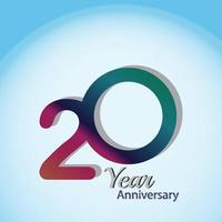 20 Year Anniversary Logo Vector Template Design Illustration blue and white