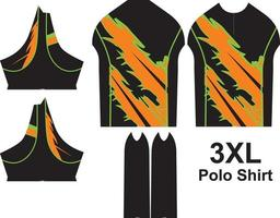 Diseño de patrón de camisas de polo de tamaño 3xl vector