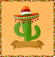 Mexico holiday poster with grunge texture and cactus with guitar. Cartoon style. Vector banner.