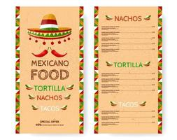 Mexican Food Restaurant menu. Tortilla, Nachos, Tacos. Template design with sombrero, chilli peppers illustration and national ornaments on texture paper. Special offer. vector