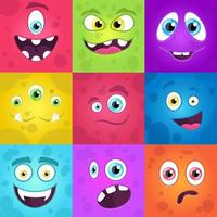 Monsters emotions. Scary faces big colourful set. Halloween aliens monsters collection vector