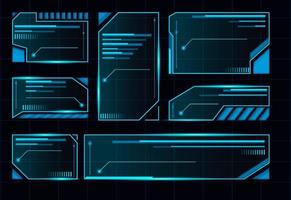 HUD futuristic user interface. Abstract blue control panel layout design. Sci fi virtual tech display. Futuristic spaceship frame. vector