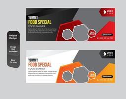 Conjunto de plantillas de diseño de banner de cupón de redes sociales de restaurante vector