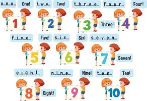 Cartoon character of many kids spelling the number 1-10