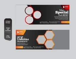 Special food social media voucher banner design template set vector