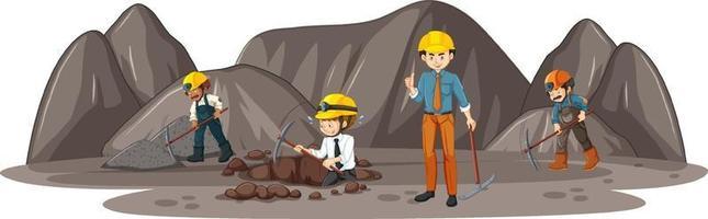 escena de la minería del carbón con muchos ingenieros. vector