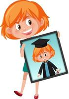 Cartoon character of a girl holding her graduation portrait photo vector