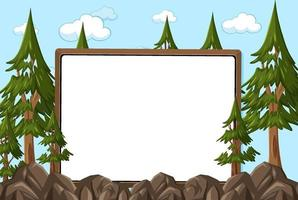 Empty board on sky background with many pine trees vector