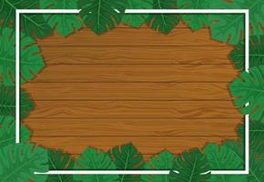 Empty wooden background with monstera leaves elements vector