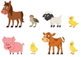 Set of young animals side view. vector