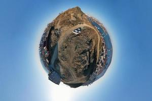 Seascape of a port in tiny planet photography style in Vladivostok, Russia