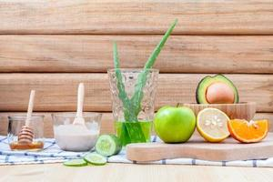 Homemade skin care and body scrub with avocado and aloe vera