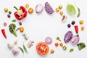 Circle of fresh Italian ingredients photo