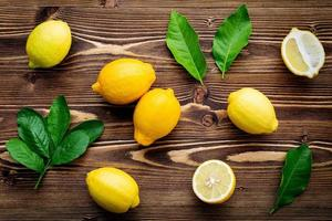 Lemons on a rustic wood background