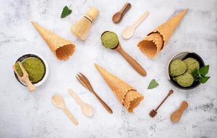 Flat lay of matcha ice cream