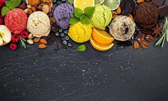 Ice cream selection on slate photo