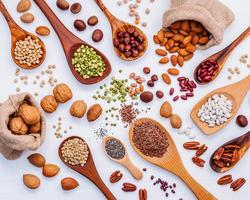 Flat lay of legumes and lentils photo