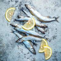 Shishamo fish and lemon slices