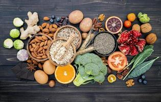 vista superior de dieta saludable