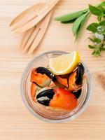 Steam crab in a glass photo