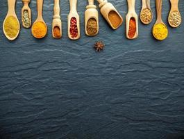 Spices in spoons with copy space
