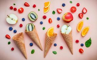 Fresh fruit and waffle cones