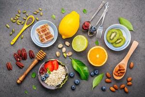 Fresh breakfast on a gray background photo