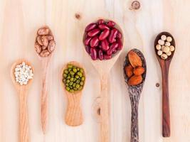 Assorted beans and lentils in wooden spoons photo