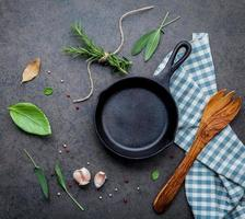 Frying pan with herbs