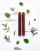 Essential oil bottles with herbs photo