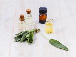Sage essential oil for aromatherapy photo