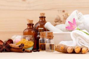 Aromatherapy setup on a table