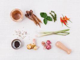Ingredientes de cocina tailandesa sobre un fondo blanco. foto