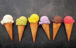 Vibrant ice cream in cones