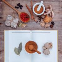 Herbal medicine with a book photo