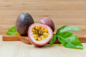 Fresh passion fruit on a wooden background